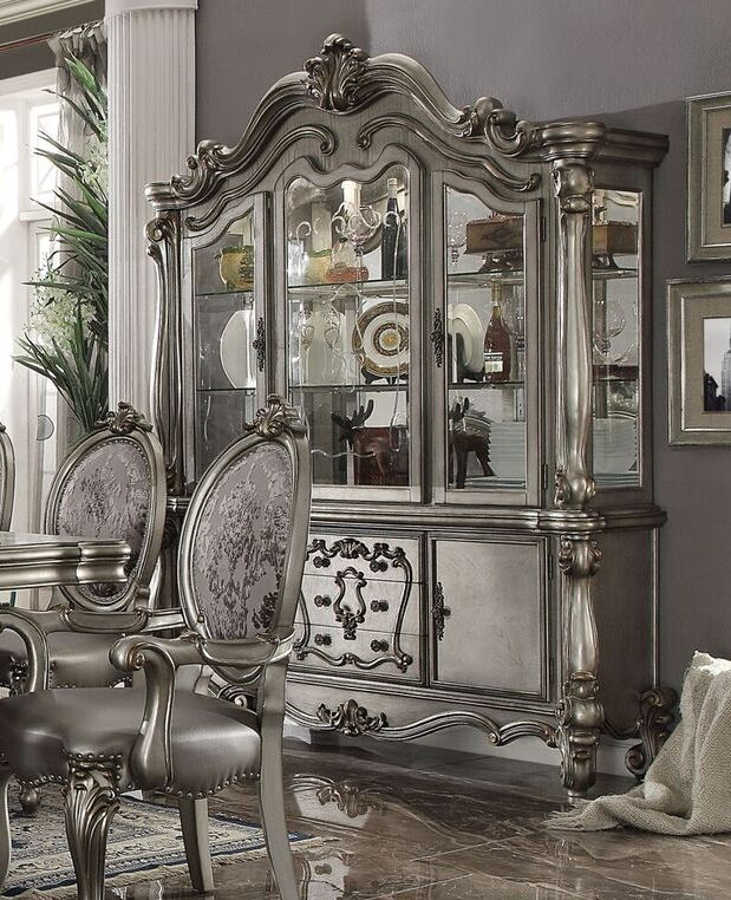Acme 66824 Versailles antique platinum finish wood hutch and buffet china cabinet