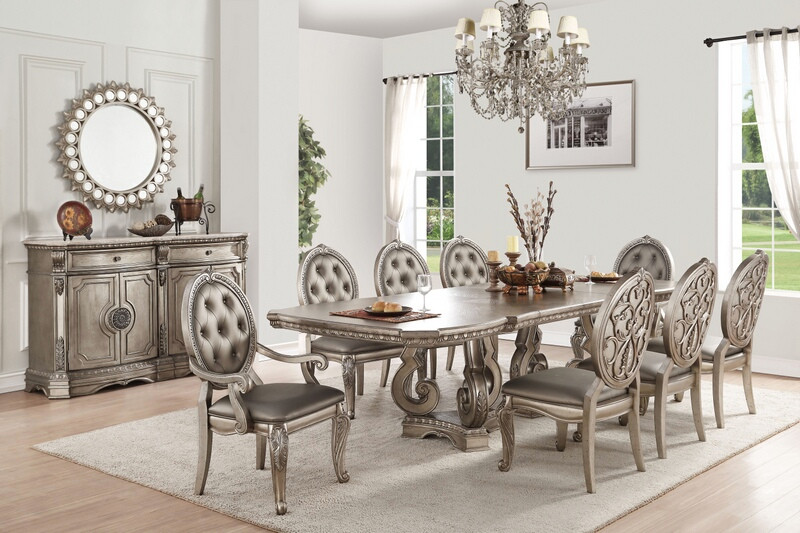Acme 66920-22-23 7 pc Northville antique champagne finish wood dining table set