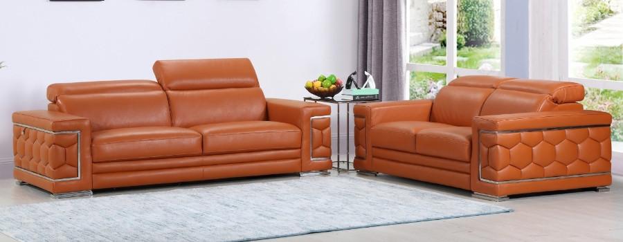 692CM-2PC 2 pc Orren ellis ferrara divanitalia camel italian leather sofa and love seat set