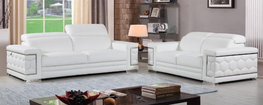 692WH-2PC 2 pc Orren ellis ferrara divanitalia white italian leather sofa and love seat set