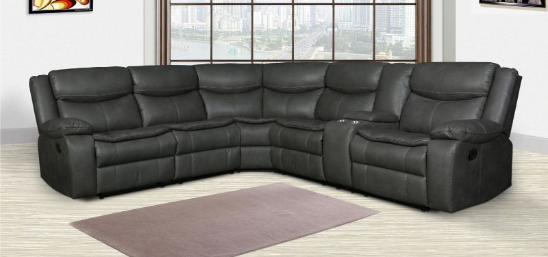 Living Room Grey Motion Sectional Set Gel Leatherette Couch Console Sofa Wedge
