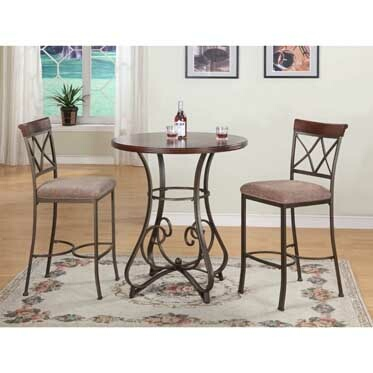 3-Pc. Brushed Faux Medium Cherry Wood Finish Hamilton Pub Set With Bar Stools