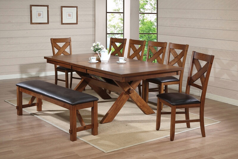 ACM70000 8 pc Apollo country kitchen style collection distressed oak finish wood pedestal dining table set with leather like vinyl upholstered chairs and bench