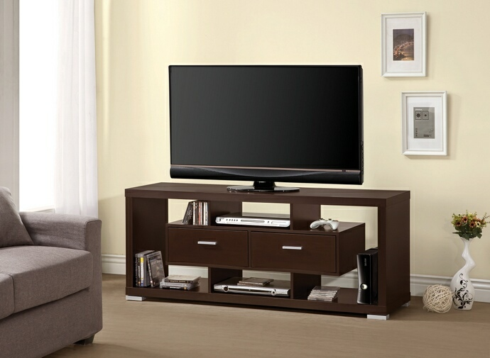 CST700112 Espresso finish wood modern contemporary style TV stand with open shelves and 2 center drawers