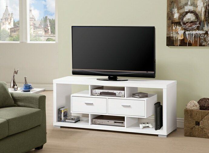 CST700113 Black and white finish wood modern contemporary style TV stand with open shelves and 1 drawer