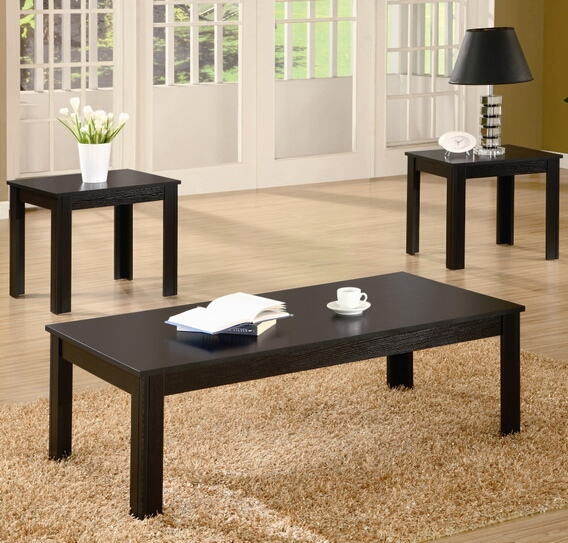 CST700225 3 pc Black finish wood coffee and end table set