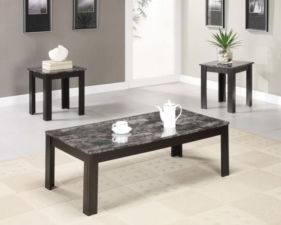700375 3 pc Hazelwood home bartlett black finish wood and faux marble top coffee table set