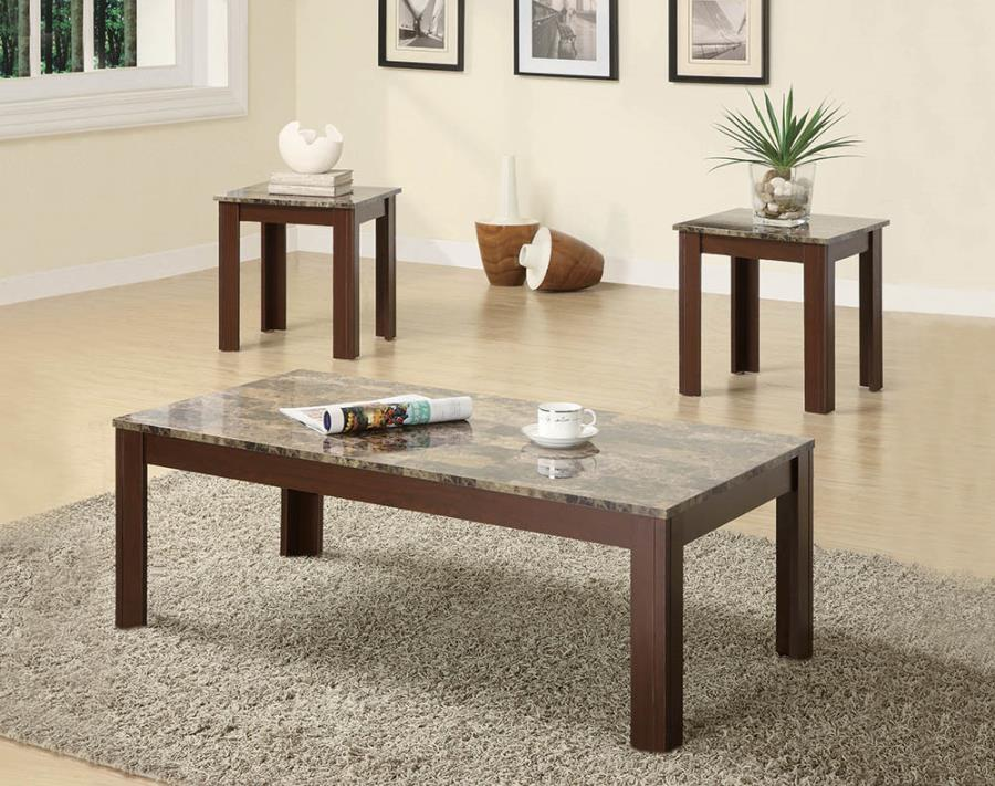 700395 3 pc Hazelwood home colmer brown finish wood faux marble top coffee table set