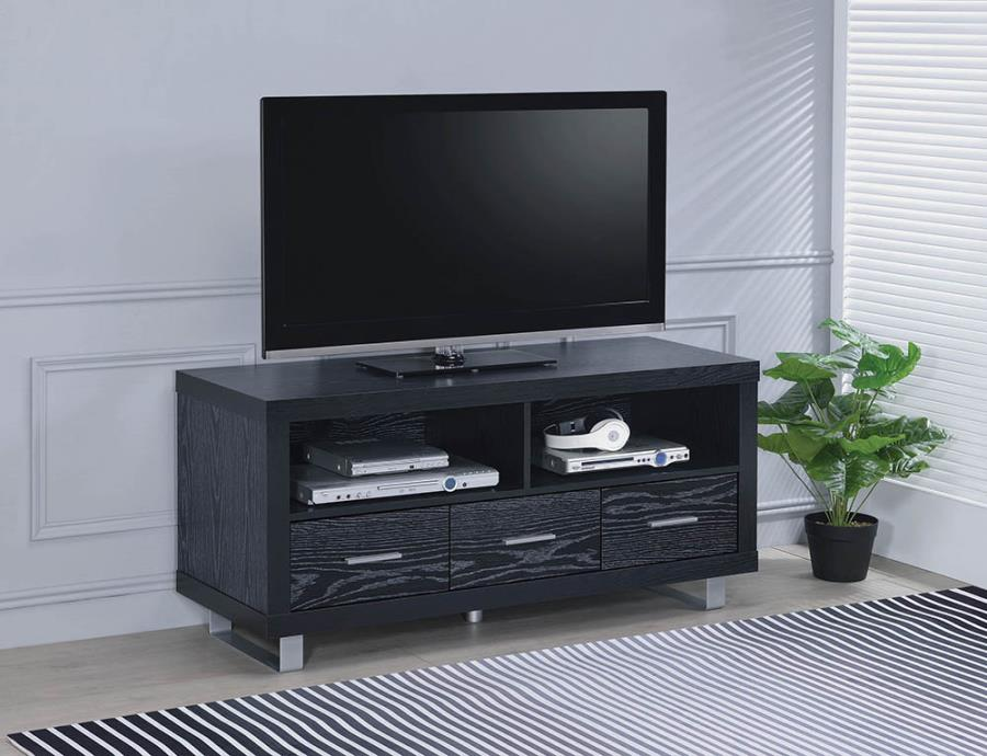 "700644 48"" wide Black finish wood Plasma TV console stand with media storage drawers"