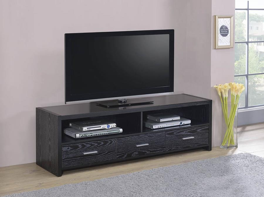 "700645 Ebern designs demuth black oak finish wood 62"" tv stand console with drawers"