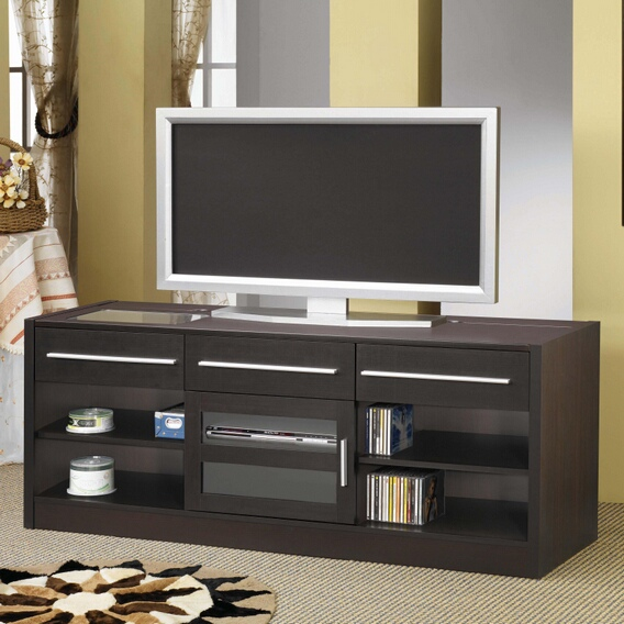 700650 Espresso finish wood TV stand entertainment center with storage drawers and built in connect it drawer
