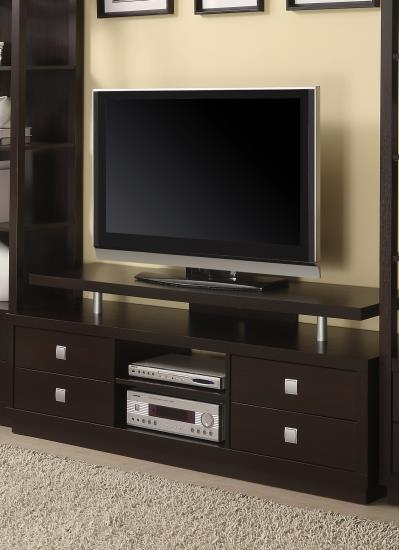 CST700696 Espresso finish wood TV stand with multiple drawers and elevated TV platform