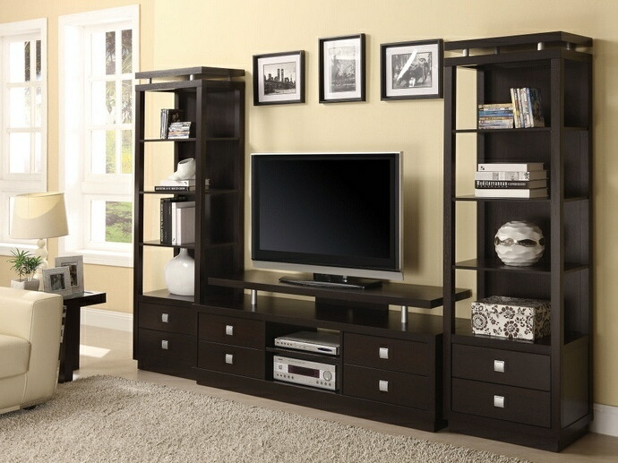 CST700696-800354 3 pc Espresso finish wood contemporary style TV stand entertainment center with piers and lower drawers