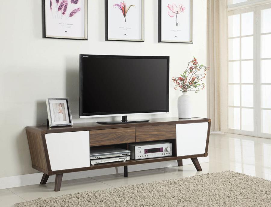 700793 George oliver gallaway glossy white walnut finish wood mid century modern tv stand console