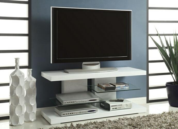 700824 Orren ellis zarrukh glossy white finish wood modern tv stand with open glass shelves