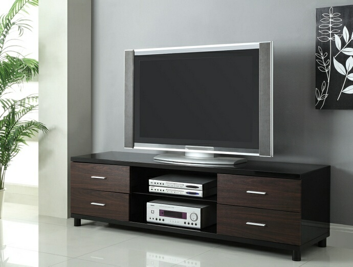 CST700826 Glossy Black finish wood contemporary style TV stand with open shelves and side drawers