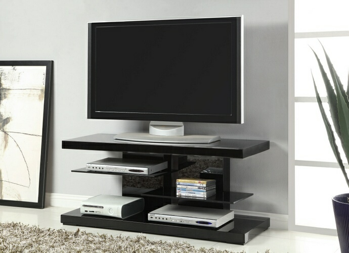 CST700840 Glossy black finish wood contemporary style TV stand with open glass shelves