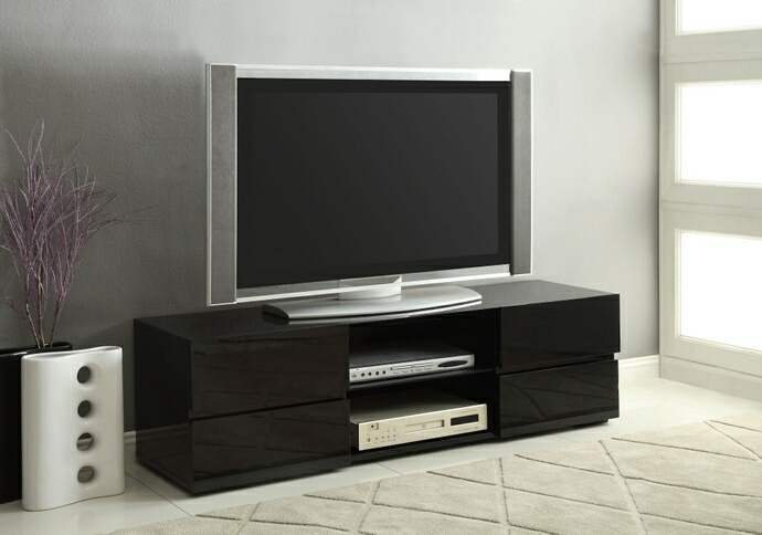CST700841 Glossy black finish wood modern contemporary style TV stand with open shelves and drawers