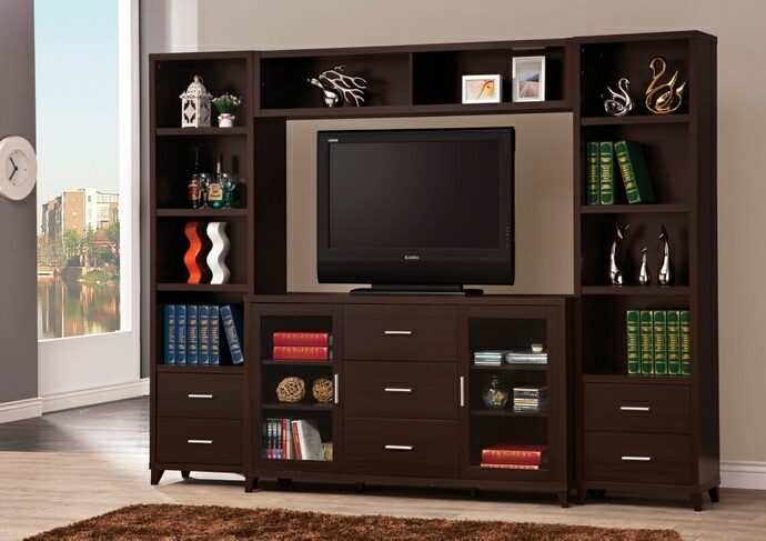 700881-82-83 4 pc Orren ellis brookins espresso finish wood tv stand entertainment center wall unit
