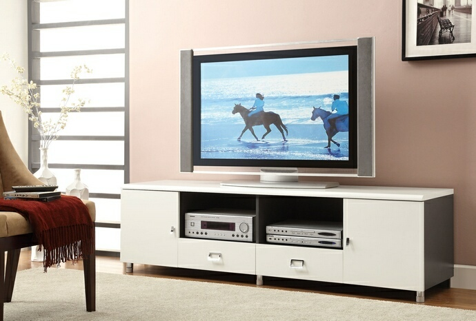 CST700910 White and gunmetal finish wood contemporary style TV stand with open shelves 2 drawers and 2 side cabinets