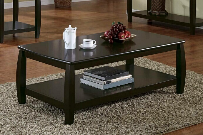 CST701078 Wildon collection espresso finish wood coffee table with lower shelf