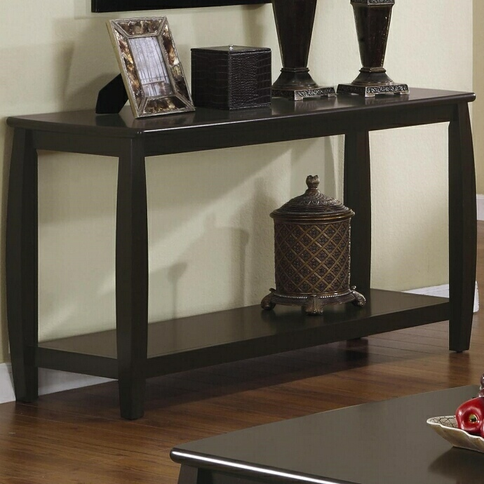 CST701079 Wildon collection espresso finish wood sofa table with lower shelf