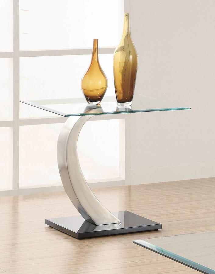 701237 Mercer 41 keenan modern satin silver metal and glass top end table