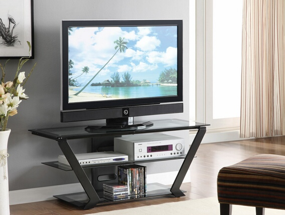 CST701370 Black metal and tempered glass shelves tv stand angular modern styling