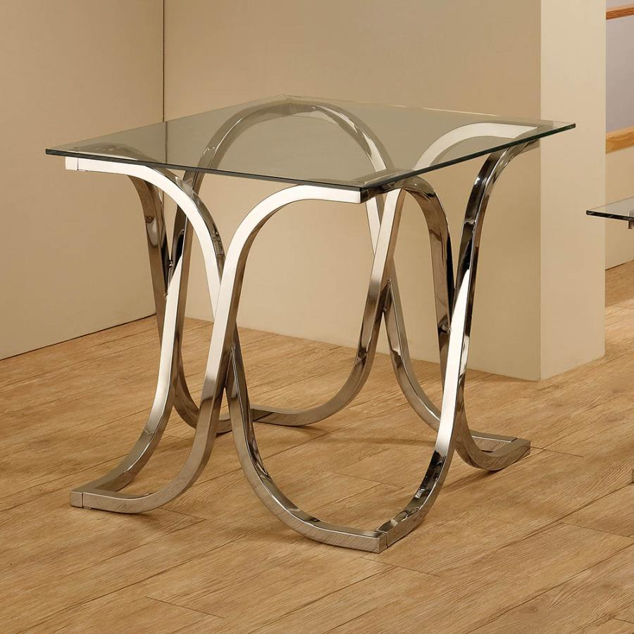 701917 Wildon home orren ellis nickel finish metal and glass end table