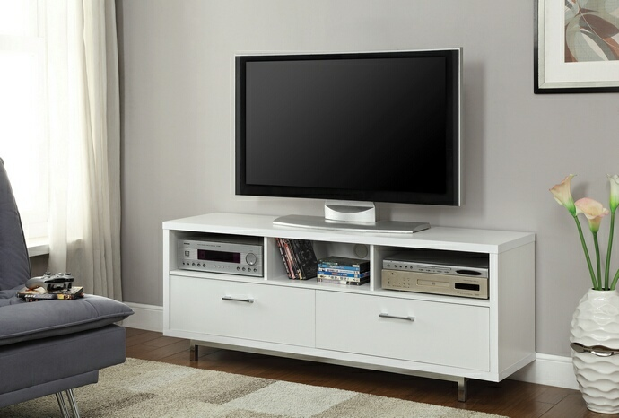 CST701972 White finish wood modern contemporary style TV stand with open shelves and 2 drawers