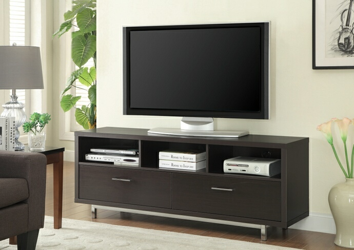 CST701973 Espresso finish wood modern contemporary style TV stand with open shelves and 2 drawers