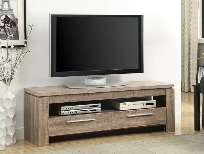 CST701975 Weathered brown finish wood contemporary style TV stand with open glass shelves and 2 drawers