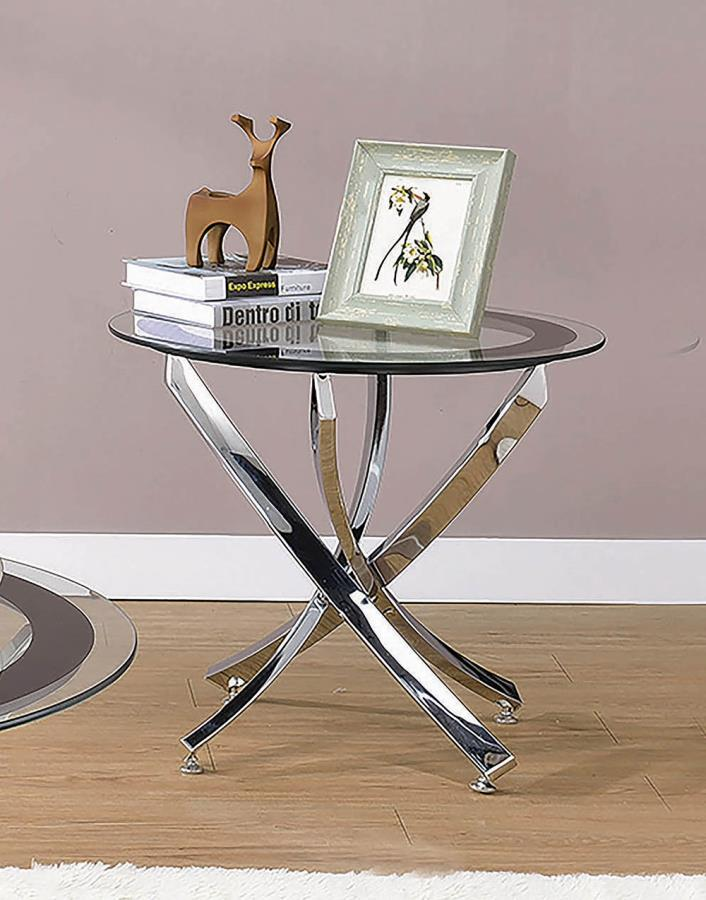 702587 Wildon home yorkville round chrome and black finish metal and glass end table