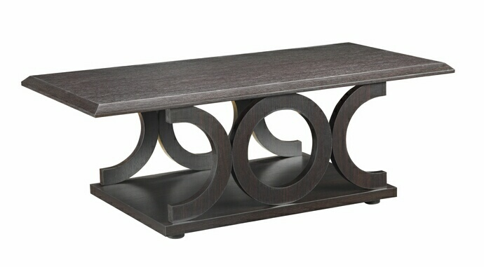 CST703148 Wildon collection espresso wood curved design legs coffee table