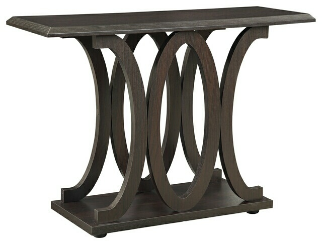 CST703149 Wildon collection espresso wood curved design legs sofa table