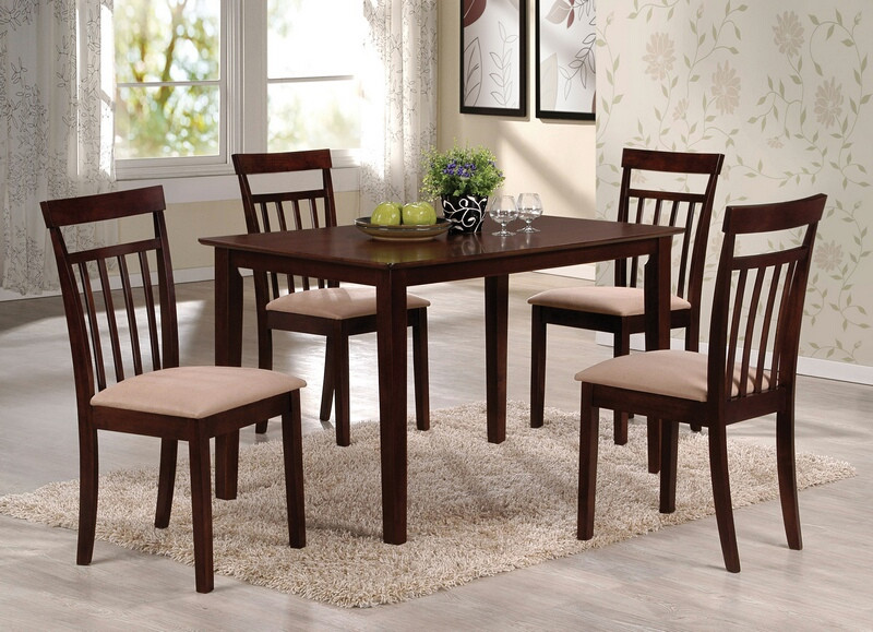 ACM70325 5 pc Samuel collection espresso finish wood dining table set with fabric upholstered seat cushion