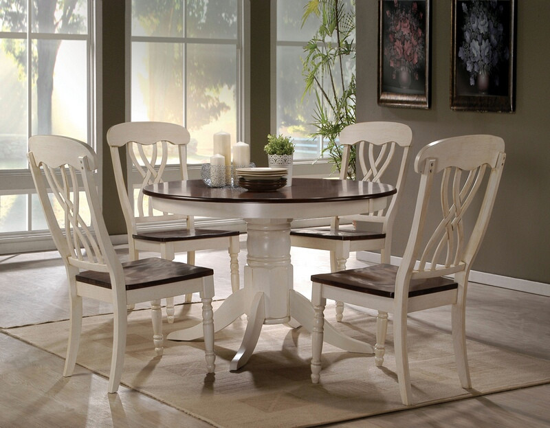 ACM70330 5 pc Dylan buttermilk and oak finish wood round dining table set with wood top seats