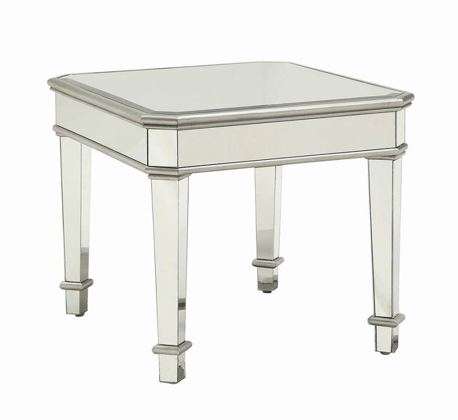 703937 Rosdorf park beales glass mirror silver finish wood end table