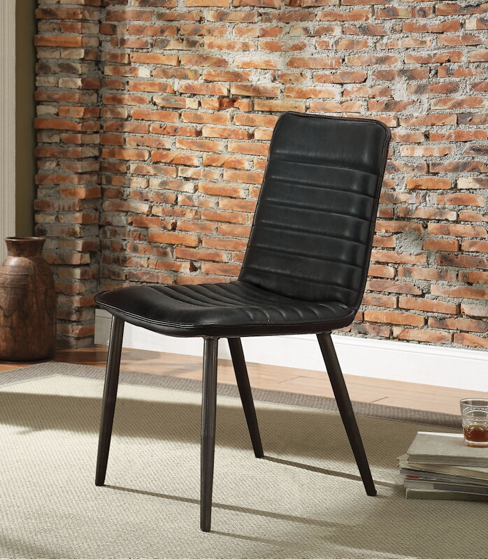 Prime Acme 70422 Set Of 2 Hosmer Black Top Grain Leather Mid Century Modern Dining Chairs Creativecarmelina Interior Chair Design Creativecarmelinacom