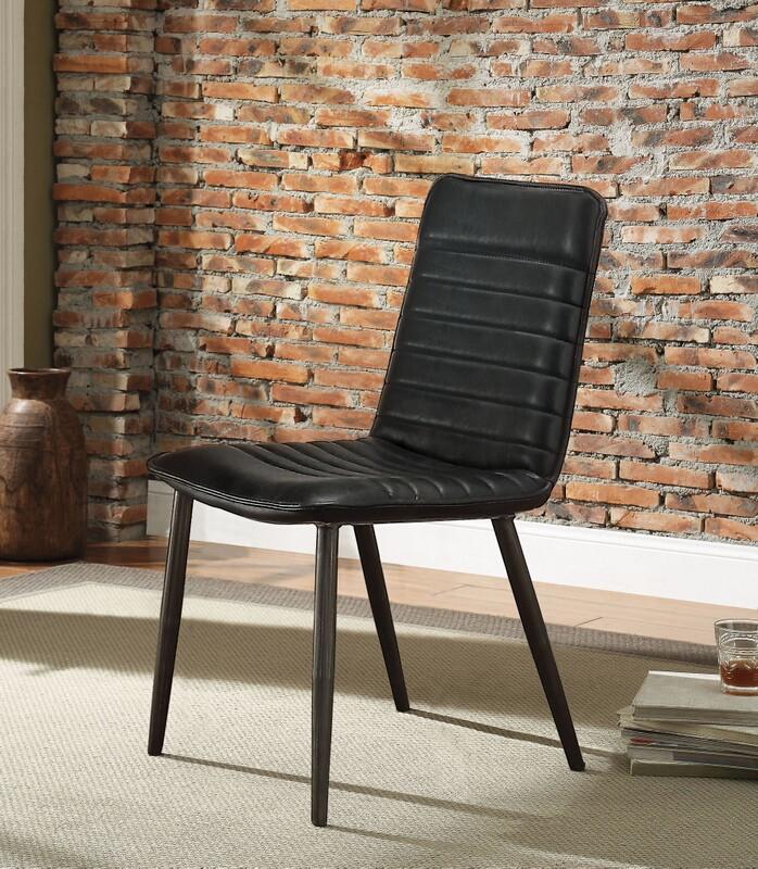 Enjoyable Acme 70422 Set Of 2 Hosmer Black Top Grain Leather Mid Century Modern Dining Chairs Inzonedesignstudio Interior Chair Design Inzonedesignstudiocom