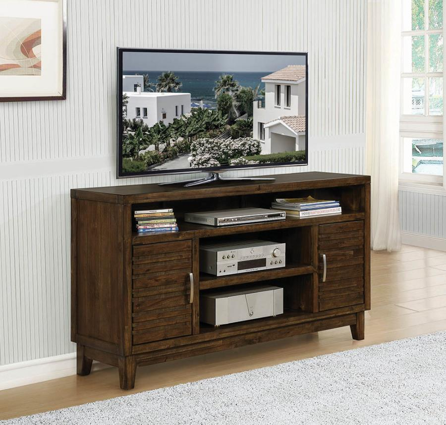 704241 Gracie oaks rustic mindy finish wood tv stand console 2 side cabinets and open shelves