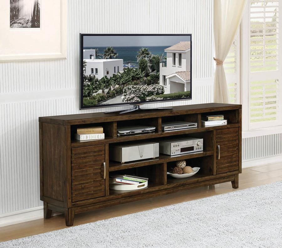 """704243 Gracie oaks rustic mindy finish wood 84"""" tv stand console 2 side cabinets and open shelves"""