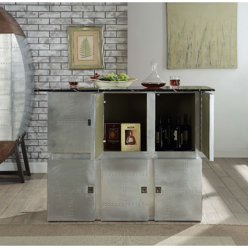 Acme 70450 Brancaster marble top and aluminum riveted finish bar unit with accents