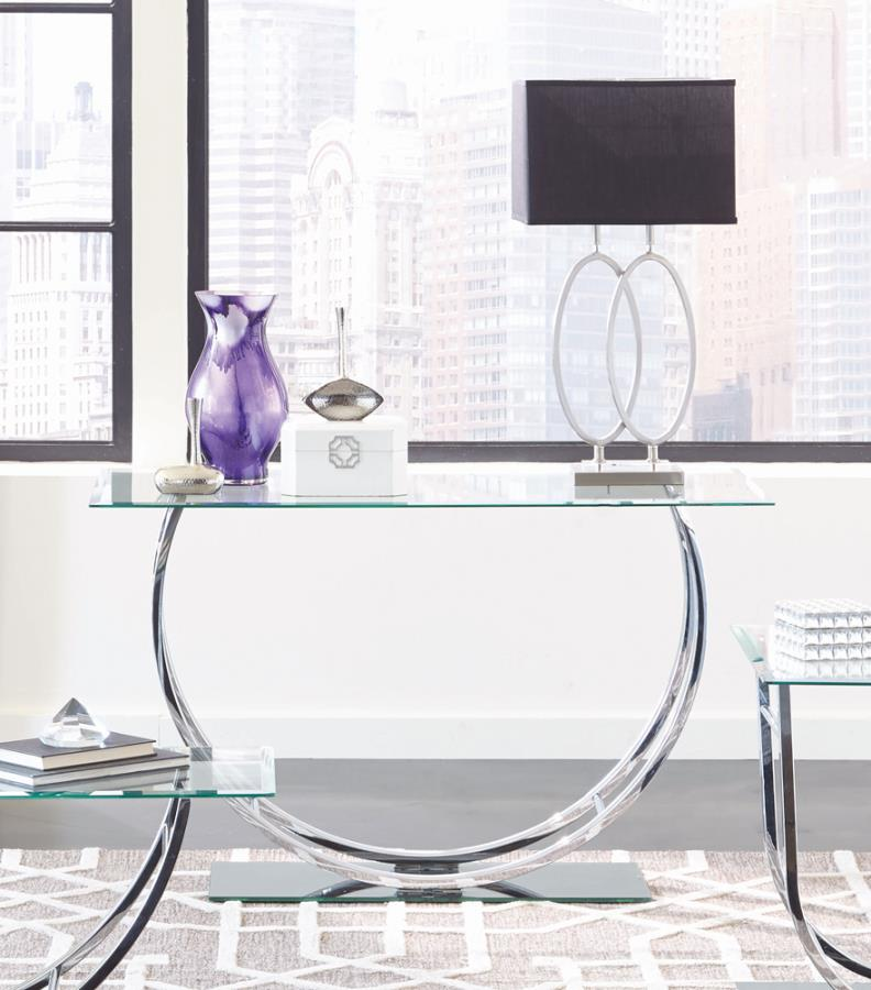 704989 Wildon home orren ellis chrome finish metal and glass sofa table arched base