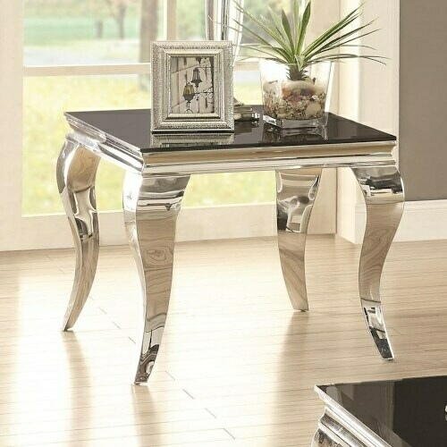 CST705017 Wildon collection chrome finish and beveled black glass top end table