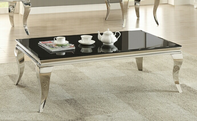 CST705018 Wildon collection chrome finish and beveled black glass top coffee table