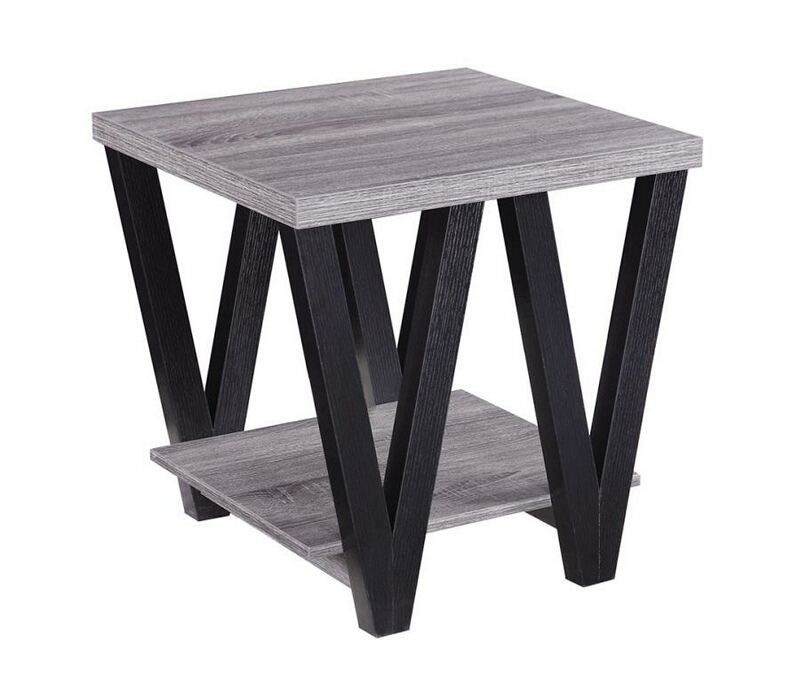 CST705397 Wildon collection antique grey and black finish wood end table