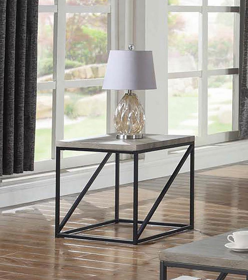705617 Gracie oaks mckay sonoma grey finish wood and black finish metal frame end table
