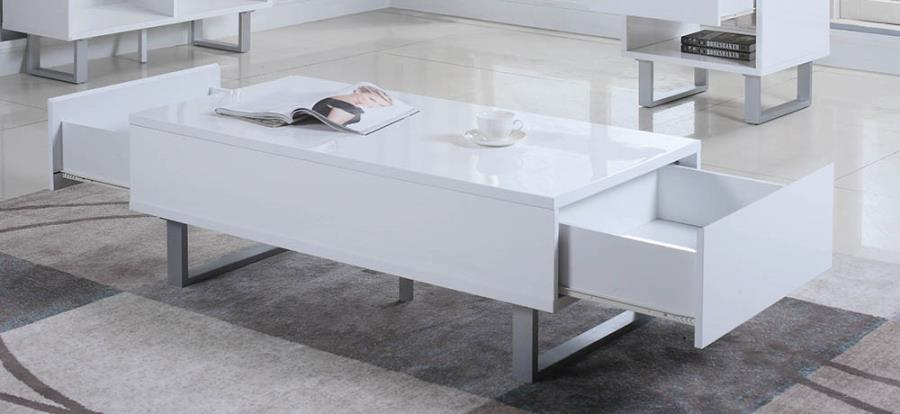 705698 Orren ellis braud cube design glossy white coffee table with drawers