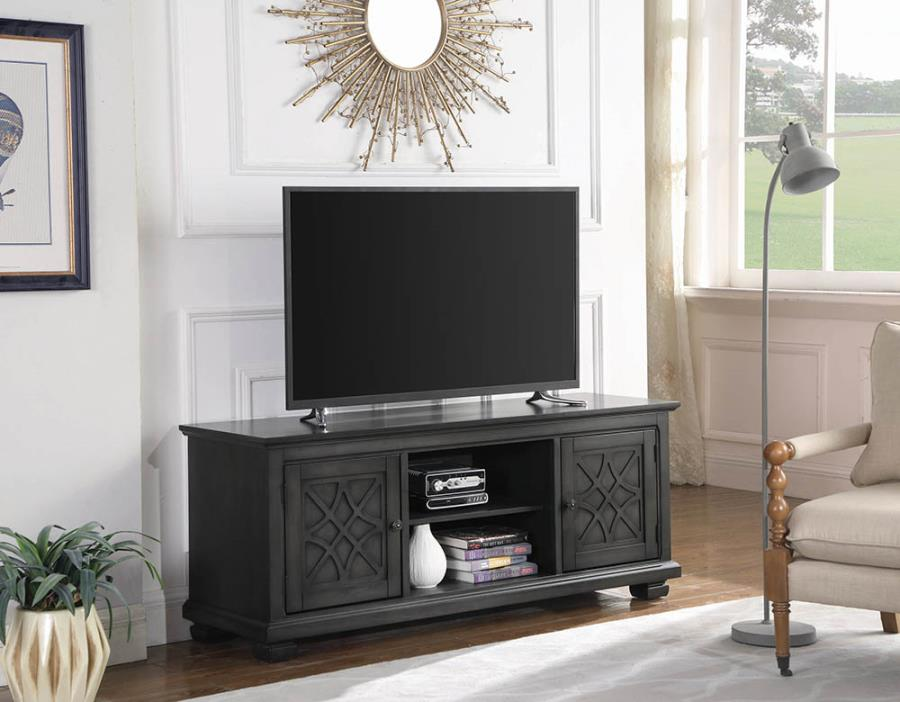 708142 Darby home co galey rustic grey finish wood TV stand console